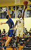 Rolando Meyers-Turner #15 of Uniondale, right, drives to the net for two points during a non-league varsity boys basketball game against Copiague in the Richard Brown Nassau-Suffolk Challenge at Uniondale High School on Saturday, Jan. 13, 2018.