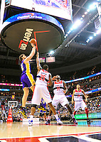 Pau Gasol of the Lakers shoots over Kevin Seraphin of the Wizards. Washington defeated Los Angeles 106-101 at the Verizon Center in Washington, D.C. on Wednesday, March 7, 2012. Alan P. Santos/DC Sports Box