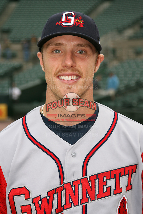 June 3, 2009:  Shortstop Kody Kirkland of the Gwinnett Braves poses for a photo before a game at Frontier Field in Rochester, NY.  The Gwinnett Braves are the International League Triple-A affiliate of the Atlanta Braves.  Photo by:  Mike Janes/Four Seam Images