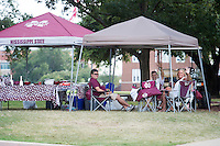 Game Day: MSU Football versus South Carolina. Fans around Drill Field.<br />  (photo by Megan Bean / &copy; Mississippi State University)