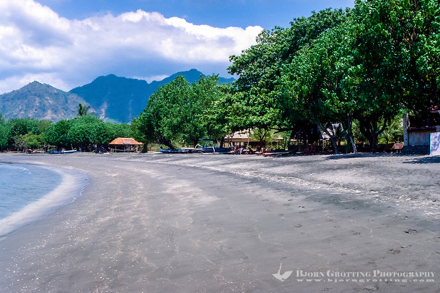 Bali, Buleleng. The beaches on northern Bali consist of dark volcanic sand. Close to Pemuteran.