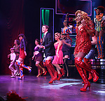 "Jake Shears, Kirstin Maldonado and Wayne Brady during the Curtain Call for Wayne Brady's return to ""Kinky Boots"" on Broadway on March 5, 2018 at the Hirschfeld Theatre in New York City."