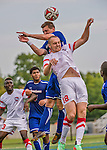 5 September 2014: St. Francis College Terrier Forward Philip Shafer, a Junior from Orlando, FL, in action against the University of Massachusetts River Hawks, at Virtue Field in Burlington, Vermont. The River Hawks defeated the Terriers 3-1, on the first day of the Morgan Stanley Smith Barney Windjammer Classic Men's Soccer Tournament. Mandatory Credit: Ed Wolfstein Photo *** RAW (NEF) Image File Available ***