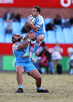 Ivan van Zyl of the Vodacom Bulls jumps into Pierre Schoeman of the Vodacom Bulls during the Super Rugby match between the Vodacom Bulls and the Jaguares at Loftus Versfeld in Pretoria, South Africa on Saturday, 7 July 2018. Photo: Steve Haag / stevehaagsports.com