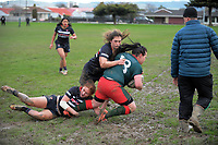 Action from the Manawatu Secondary Schoolgirls Rugby match between Feilding High School and Wairarapa College at Coronation Park in Palmerston North, New Zealand on Wednesday, 2 August 2017. Photo: Dave Lintott / lintottphoto.co.nz