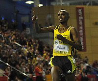 Photo: Tony Oudot/Richard Lane Photography..Aviva European Trials & UK Championships athletics. 15/02/2009. .Mo Farah wins the mens 1500m Final.