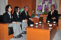 (L to R) Sara Takanashi (JPN), Sumire Kikuchi (JPN),  JOC President Tsunekazu Takeda, Hirofumi Hirano Minister of Education, Culture, Sports, Science and Technology, JANUARY 24, 2011 - Youth Olympic : Japan national team of Youth Olympic visit Education, Culture, Sports, Science and Technology Ministry after returning Innsbruck 2012 Winter Youth Olympic Games in Tokyo, Japan. (Photo by Jun Tsukida/AFLO SPORT) [0003].