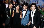 "HOLLYWOOD, CA. - February 24: Musicians Joe Jonas, Demi Lovato, Nick Jonas and Kevin Jonas arrive at the Los Angeles premiere of ""Jonas Brothers: The 3D Concert Experience"" at the El Capitan Theatre on February 24, 2009 in Los Angeles, California."