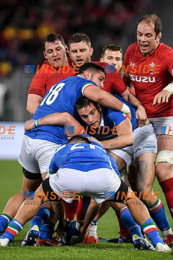Tiziano Pasquali, Edoardo Padovani, Edoardo Gori Italy.<br />  <br /> Roma 9-02-2019 Stadio Olimpico<br /> Rugby Six Nations tournament 2019  <br /> Italy - Wales <br /> Foto Antonietta Baldassarre / Insidefoto