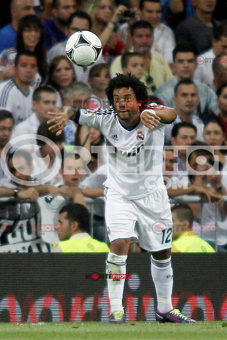 Real Madrid's  Marcelo  during Super Copa of Spain on Agost 29th 2012...Photo:  (ALTERPHOTOS/Ricky) Super Cup match. August 29, 2012. <br />  (foto:ALTERPHOTOS/NortePhoto.com<br /> <br /> **CREDITO*OBLIGATORIO** <br /> *No*Venta*A*Terceros*<br /> *No*Sale*So*third*<br /> *** No*Se*Permite*Hacer*Archivo**<br /> *No*Sale*So*third*