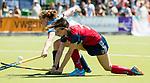 NIJMEGEN -  Noortje Coenen (Huizen)    tijdens  de tweede play-off wedstrijd dames, Nijmegen-Huizen (1-4), voor promotie naar de hoofdklasse.. Huizen promoveert naar de hoofdklasse.  COPYRIGHT KOEN SUYK