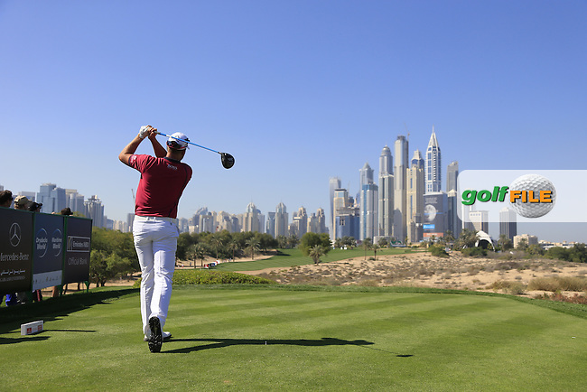 Henrik STENSON (SWE) tees off the 8th tee during Pink Friday's Round 2 of the 2015 Omega Dubai Desert Classic held at the Emirates Golf Club, Dubai, UAE.: Picture Eoin Clarke, www.golffile.ie: 1/30/2015