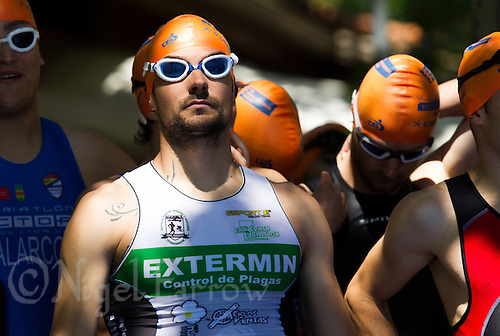 01 JUN 2013 - MADRID, ESP - A competitor waits for the start of his Masters sprint distance race at Casa de Campo in Madrid, Spain <br /> (PHOTO (C) 2013 NIGEL FARROW)
