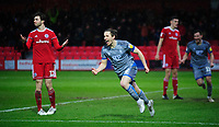 Lincoln City's Aaron Lewis celebrates scoring his side's second goal<br /> <br /> Photographer Andrew Vaughan/CameraSport<br /> <br /> The EFL Sky Bet League One - Accrington Stanley v Lincoln City - Saturday 15th February 2020 - Crown Ground - Accrington<br /> <br /> World Copyright © 2020 CameraSport. All rights reserved. 43 Linden Ave. Countesthorpe. Leicester. England. LE8 5PG - Tel: +44 (0) 116 277 4147 - admin@camerasport.com - www.camerasport.com