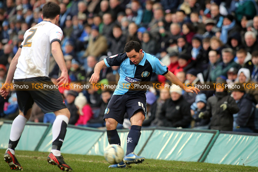Wycombe's Sam Wood passes the ball inside - Wycombe Wanderers vs Accrington Stanley - NPower League Two Football at Adams Park, High Wycombe - 29/03/13 - MANDATORY CREDIT: Paul Dennis/TGSPHOTO - Self billing applies where appropriate - 0845 094 6026 - contact@tgsphoto.co.uk - NO UNPAID USE.