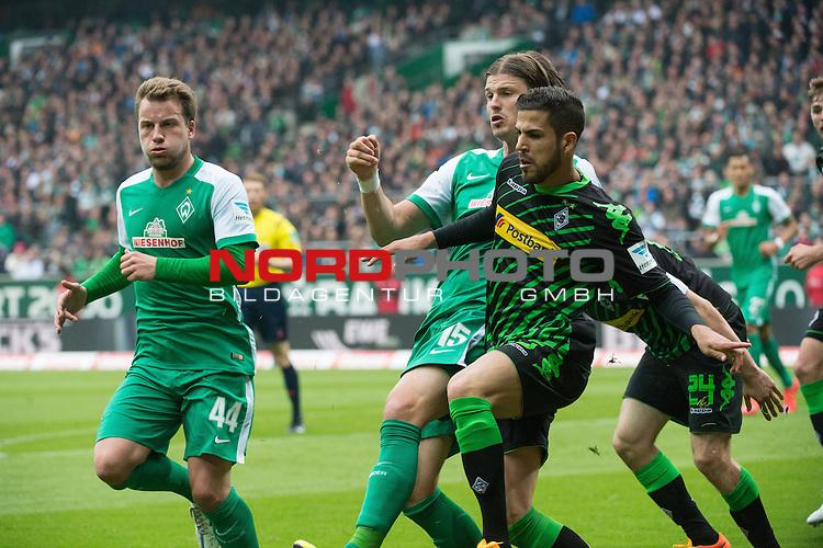 16.05.2015, Weser Stadion, Bremen, GER, 1.FBL. Werder Bremen vs Borussia Moenchengladbach, im Bild<br /> <br /> Alvaro Dominguez (Borussia M&ouml;nchengladbach) Sebastian Pr&ouml;dl / Proedl (Bremen #15)<br /> li Philipp Bargfrede (Bremen #44)<br /> re Tony Jantschke (Borussia M&ouml;nchengladbach)<br /> <br /> Foto &copy; nordphoto / Kokenge