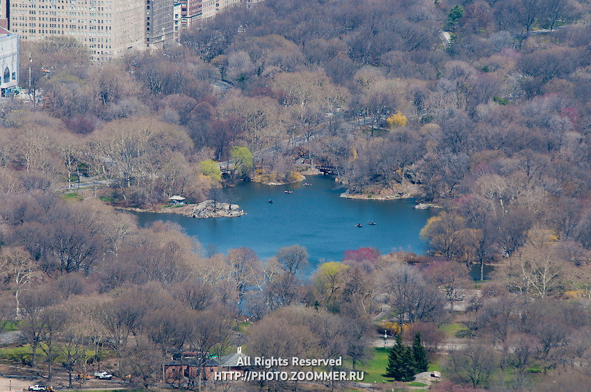 Pond of Central Park from high above. View from Top Of The Rock.