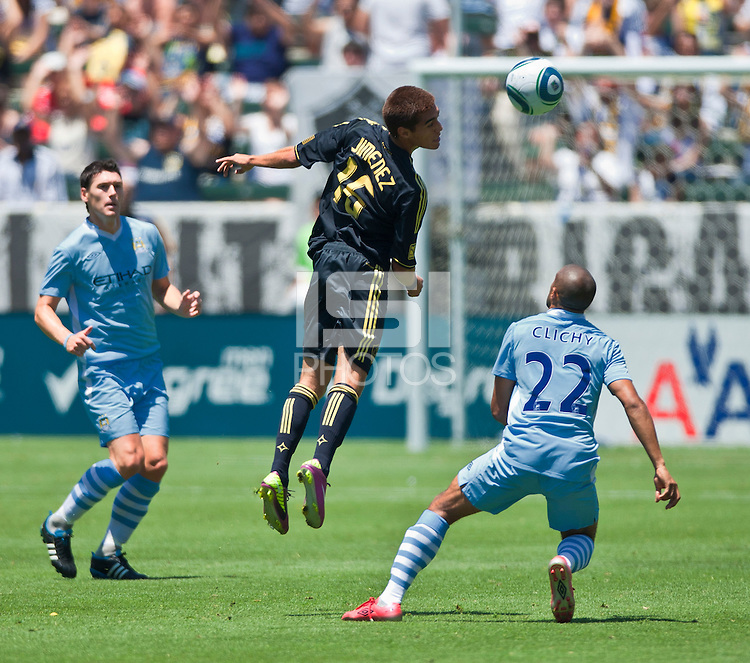 CARSON, CA – July 24, 2011: Hector Jimenez (16) of LA Galaxy during the match between LA Galaxy and Manchester City FC at the Home Depot Center in Carson, California. Final score Manchester City FC 1 and LA Galaxy 1. Manchester City wins shoot out 7, LA Galaxy 6.