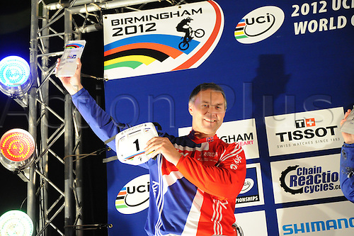 05.27.2012. England, Birmingham, National Indoor Arena. UCI BMX World Championships. Podium trio for the Cruisers Men 40 - 44 Finals at the NIA. Anthony Revell 1st place....