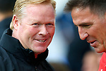Everton's Manager Ronald Koeman (L) speaks to Sevilla's Manager Eduardo Berizzo before the pre season friendly match at Goodison Park Stadium, Liverpool. Picture date 6th August 2017. Picture credit should read: Paul Thomas/Sportimage