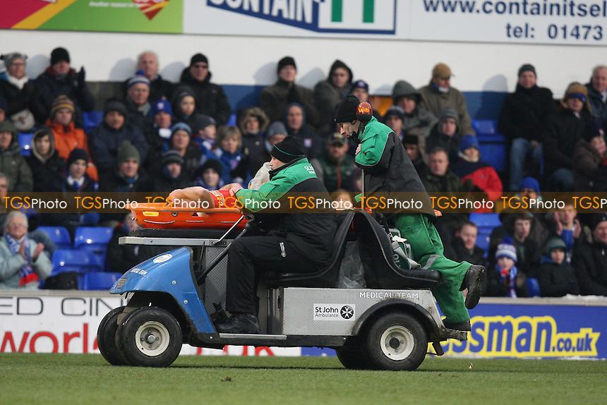 Injury concern for Stephen Dawson of Barnsley - Ipswich Town vs Barnsley - NPower Championship Football at Portman Road, Ipswich, Suffolk - 19/01/13 - MANDATORY CREDIT: Gavin Ellis/TGSPHOTO - Self billing applies where appropriate - 0845 094 6026 - contact@tgsphoto.co.uk - NO UNPAID USE.