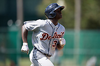 Detroit Tigers Daz Cameron (38) runs to first base during an Instructional League game against the Atlanta Braves on October 10, 2017 at the ESPN Wide World of Sports Complex in Orlando, Florida.  (Mike Janes/Four Seam Images)