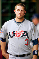 Trevor Plouffe #3 of Team USA at the USA Baseball National Training Center, September 4, 2009 in Cary, North Carolina.  (Photo by Brian Westerholt / Four Seam Images)