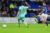 Lee Tomlin of Cardiff City has a shot during the Sky Bet Championship match between Cardiff City and Queens Park Rangers at the Cardiff City Stadium in Cardiff, Wales, UK. Wednesday 02 October, 2019