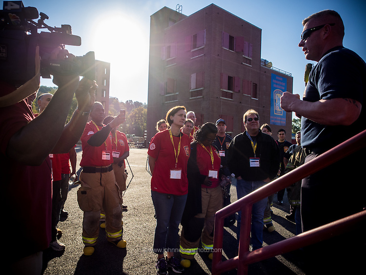 Lt. Brian Phillips addresses participants of Fire Ops 101 the the fire training facility in Washington, DC.<br /> PHOTOS/John Nelson