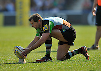 London, England. Nick Evans of Harlequins prepare to take a penalty during the Aviva Premiership match between Harlequins and Bath Rugby at Twickenham Stoop on March 24, 2012 in Twickenham, England.