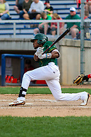 Beloit Snappers outfielder JaVon Shelby (5) swings at a pitch during a Midwest League game against the Peoria Chiefs on April 15, 2017 at Pohlman Field in Beloit, Wisconsin.  Beloit defeated Peoria 12-0. (Brad Krause/Four Seam Images)