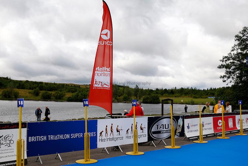 Photo: Richard Lane/Richard Lane Photography. British Triathlon Super Series, Parc Bryn Bach. 18/07/2009. .Triathlon branding.