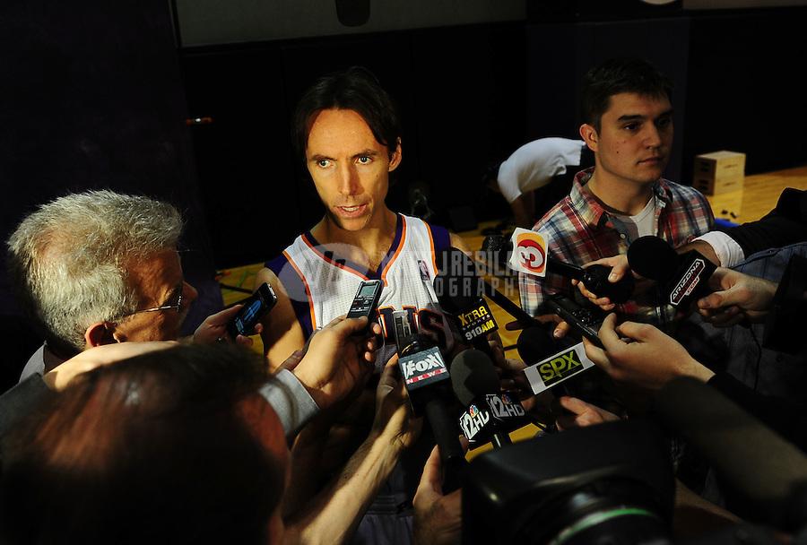 Dec. 16, 2011; Phoenix, AZ, USA; Phoenix Suns guard Steve Nash speaks to the press during media day at the US Airways Center. Mandatory Credit: Mark J. Rebilas-