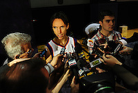 Dec. 16, 2011; Phoenix, AZ, USA; Phoenix Suns guard Steve Nash speaks to the press during media day at the US Airways Center. Mandatory Credit: Mark J. Rebilas-