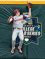 NWA Democrat-Gazette/BEN GOFF @NWABENGOFF<br /> Heston Kjerstad, Arkansas left fielder, catches out a Texas Tech batter in the 2nd inning Wednesday, June 20, 2018 in game eight of the NCAA Men's College World Series between at TD Ameritrade Park in Omaha.