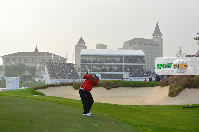 Patrick Reed (USA) on the 18th during the final round of the BMW Masters, Lake Malarian Golf Club, Boshan, Shanghai, China.  15/11/2015.<br /> Picture: Golffile | Fran Caffrey<br /> <br /> <br /> All photo usage must carry mandatory copyright credit (&copy; Golffile | Fran Caffrey)