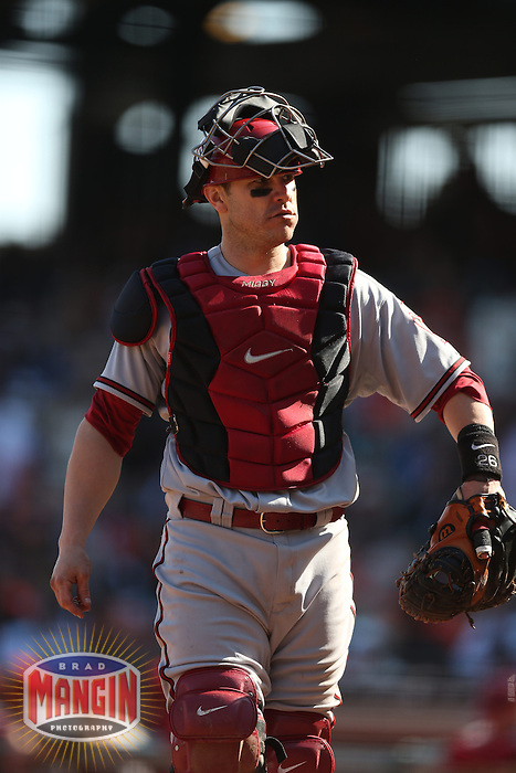 SAN FRANCISCO - SEPTEMBER 27:  Miguel Montero of the Arizona Diamondbacks works during the game against the San Francisco Giants at AT&T Park on September 27, 2012 in San Francisco, California. (Photo by Brad Mangin)