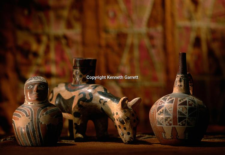 Painted vessels,Empires of the Sun; Peru; Wari; Huari, National Museum of Peru