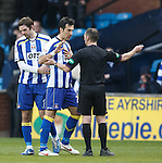 Manuel Pascali told to leave the field by ref Stevie O'Reilly