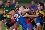 As Nigel Watson wraps up Leon Ellia, Armyn Sanders looks to secure the ball. Counties Manukau Premier Club Rugby game between Ardmore Marist and Pukekohe, played at Bruce Pulman Park Papakura, on April 16th 2011..Ardmore Marist won 23 - 16 after leading 23 - 6 at halftime.