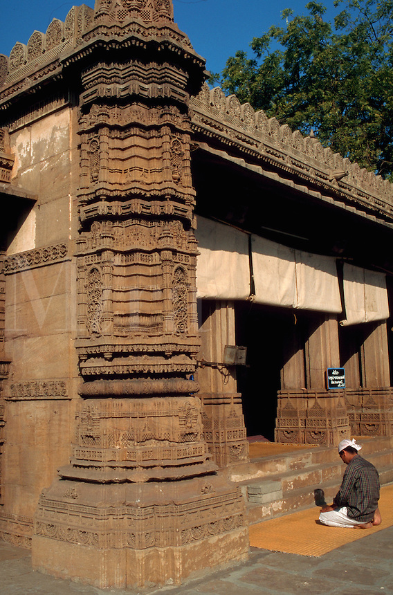 The exterior of the ornately carved Rani Sipri (Sabrai) mosque. Ahmedabad, India.