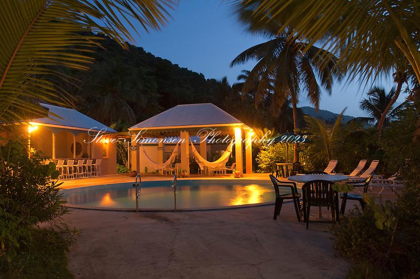 The pool at The Sugar Mill Hotel at dusk.Tortola.British Virgin Islands