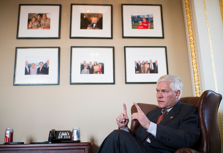 UNITED STATES - OCTOBER 29: House Rules Committee chairman Pete Sessions, R-Texas, speaks to Roll Call in his office at the Rules Committee in the Capitol onTuesday, Oct. 29, 2013. (Photo By Bill Clark/CQ Roll Call)