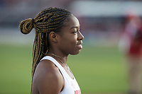 NWA Democrat-Gazette/BEN GOFF @NWABENGOFF<br /> J'Alyiea Smith of Arkansas lines up for the start of the women's 400 meter hudles Friday, April 12, 2019, at the John McDonnell Invitational at John McDonnell field in Fayetteville.