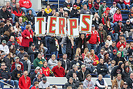 Annapolis, MD - February 11, 2017: Maryland Terrapins fans celebrate a goal during game between Maryland vs Navy at  Navy-Marine Corps Memorial Stadium in Annapolis, MD.   (Photo by Elliott Brown/Media Images International)