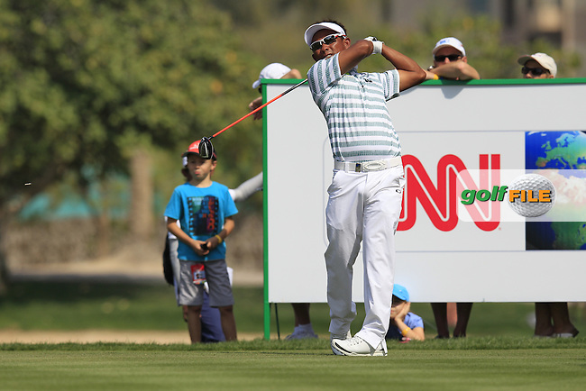 Thongchai Jaidee (THA) tees off the 5th tee during Saturday's Round 3 of the Omega Dubai Desert Classic 2014 held at the Emirates Golf Club, Dubai. 1st February 2014.<br /> Picture: Eoin Clarke www.golffile.ie