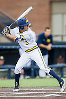 Michigan Wolverines outfielder Cody Bruder (3) at bat against the Oakland Golden Grizzlies on May 17, 2016 at Ray Fisher Stadium in Ann Arbor, Michigan. Oakland defeated Michigan 6-5 in 10 innings. (Andrew Woolley/Four Seam Images)
