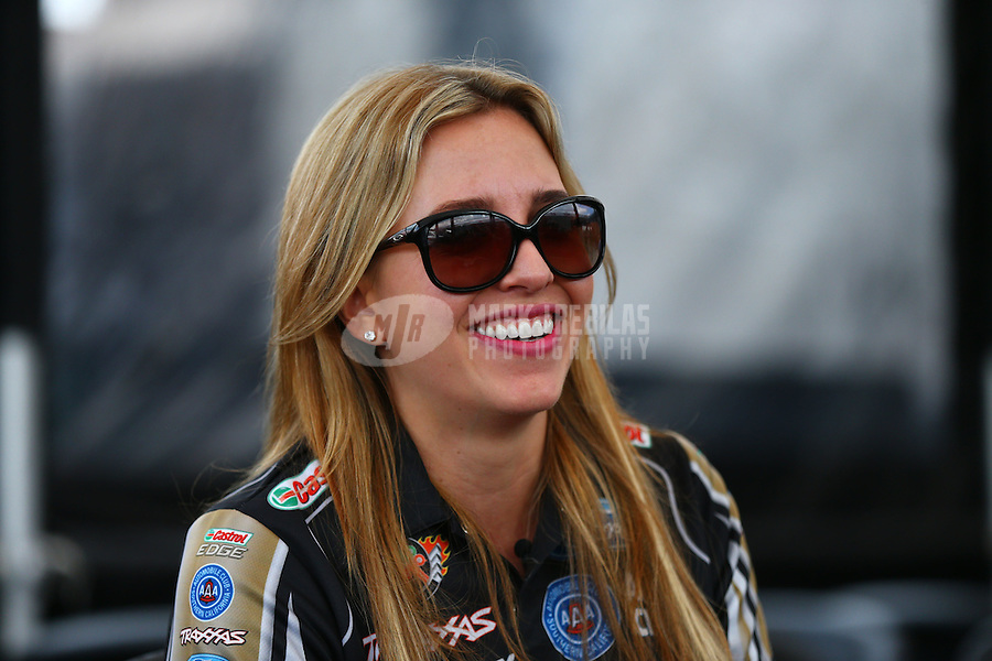 May 30, 2014; Englishtown, NJ, USA; NHRA top fuel driver Brittany Force during qualifying for the Summernationals at Raceway Park. Mandatory Credit: Mark J. Rebilas-