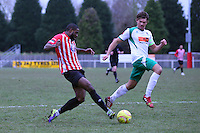 Kieran Bishop of Hornchurch puts the ball into the box - AFC Hornchurch vs Bognor Regis Town - Ryman League Premier Division Football at The Stadium, Bridge Avenue, Upminster - 07/02/15 - MANDATORY CREDIT: Mark Hodsman/TGSPHOTO - Self billing applies where appropriate - contact@tgsphoto.co.uk - NO UNPAID USE