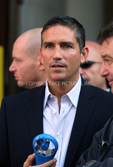 WWW.ACEPIXS.COM . . . . .  ....August 24 2011, New York City....Actor Jim Caviezel tries to beat the heat on the set of the new TV show 'Person of Interest' in Chelsea on August 24 2011 in New York City....Please byline: PHILIP VAUGHAN - ACE PICTURES.... *** ***..Ace Pictures, Inc:  ..Philip Vaughan (212) 243-8787 or (646) 679 0430..e-mail: info@acepixs.com..web: http://www.acepixs.com